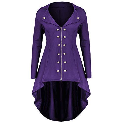 PPangUDing Mittelalter Kleidung Damen Vintage Gothic Steampunk Uniform Viktorianischen Prinzessin Renaissance unregelmäßiger rand Button Down Smoking Jacke Trenchcoat Gehrock