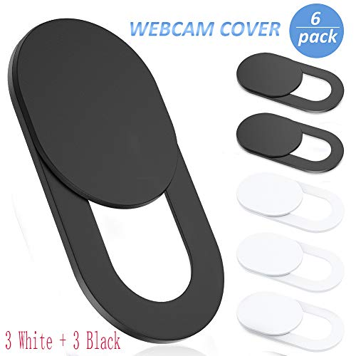 Webcam Cover Slide,Ultra-Thin Web Camera Cover for Laptop,PC,Computer,Apple MacBook,iPad, iPhone Cell Phone etc. 0.022in Thick Web Blocker Protect Your Privacy and Security (3Pack White 3Pack Black)