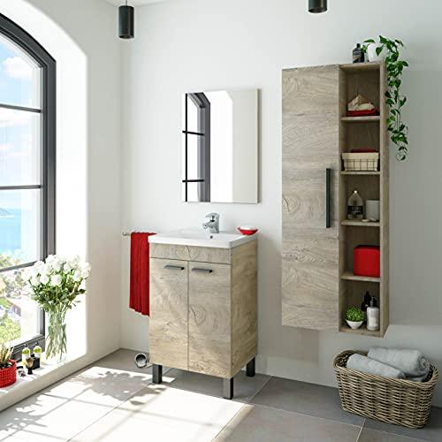 Miroytengo Pack de baño Aseo Color Roble Alaska con Mueble, Espejo, Lavabo y Columna Industrial Lavabo Incluido