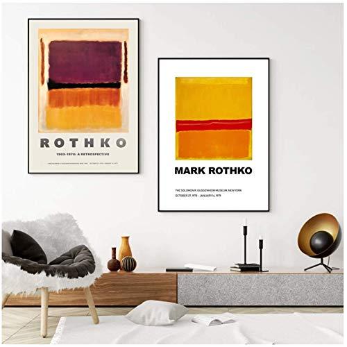 Mark Rothko Obra de arte abstracta Pintura en lienzo Impresión Vintage Exposición Póster Galería Arte de la pared Imagen Sala de estar Decoración del dormitorio - 20x28 pulgadas x2 Sin marco
