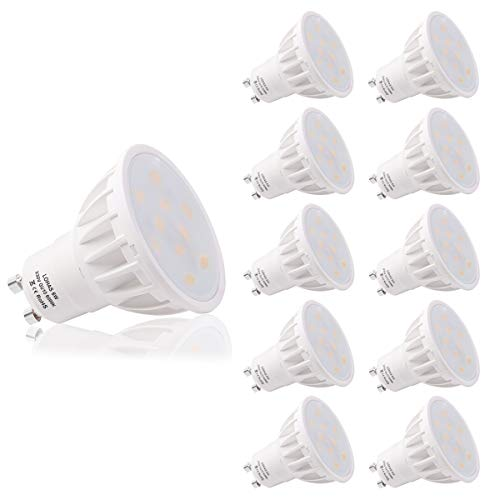 LOHAS 6W GU10 LED Blanc Froid, 6000K, 500lm, Équivalente à Incandescence 50W, 120° Larges Faisceaux,Ampoule LED GU10, Spot Light Lampe, Lot de 10
