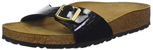 BIRKENSTOCK Damen Madrid Pantoletten, Schwarz (Noir Magic Snake Black Noir Magic Snake Black), 37 EU