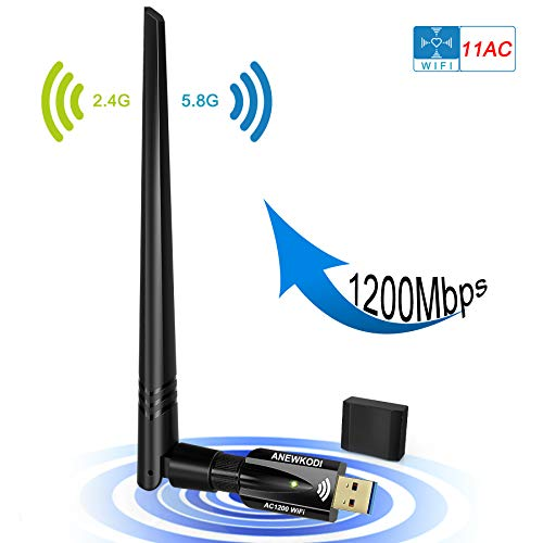 USB WiFi Adapter for PC 1200Mbps Dual Band 2.4GHz/5GHz Fast USB3.0 High Gain 5dBi Antenna 802.11ac WiFi Dongle Wireless Network Adapter for Desktop Laptop Supports Windows Mac and Linux