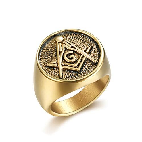 Lee Island Fashion 24K Gold Plated Freemason Symbol Masonic Stainless Steel Ring for Men-Hip Hop Rock Jewelry