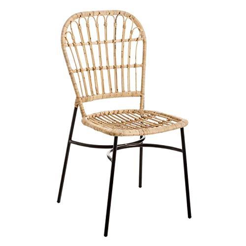 Tousmesmeubles Chaise en RotinMétal ASLI n°2 L 41 x l