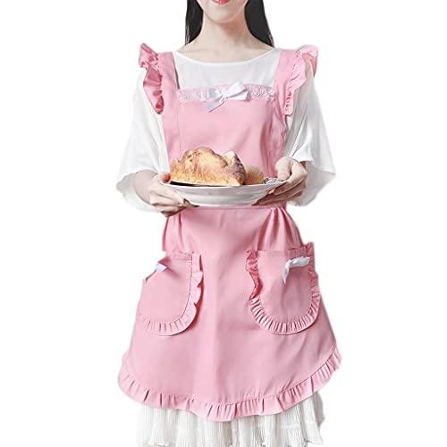 TMY Delantal Adulto de la Moda Femenina, japonés Lindo Lindo Encaje Princesa Mono, Cocina casera, Delantal y Babero (Color : Pink)