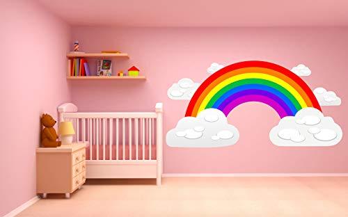 Kapowboom Graphics - Adhesivo Decorativo para Pared (75 x 37 cm), diseño de arcoíris y Nubes, Vinilo, Large - 155 x 76cm