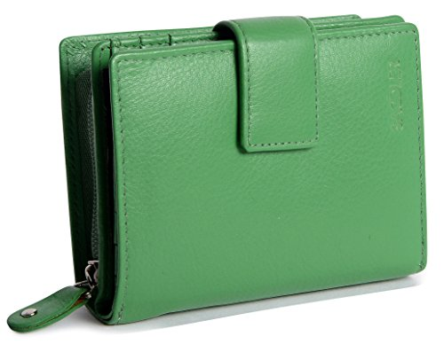 SADDLER Womens Real Leather Medium Bifold Purse Wallet with Zipper Coin Purse | Designer Ladies Clutch Perfect for ID Coins Notes Debit Travel Cards | Gift Boxed - Green