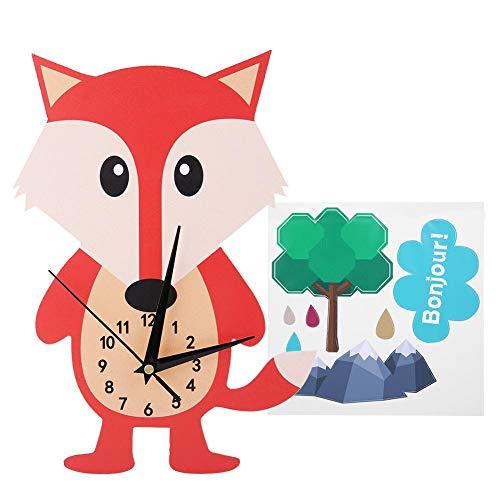 OKBY Orologio Parete Bambini da Bambino Camera A Forma di Animale Simpatico per Casa - Cartone Animato Decorazione Fai Te La dei della Letto