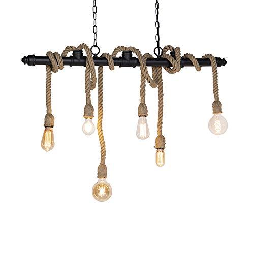 QAZQA Lámpara colgante industrial negra 6 luces - Plural Acero/Cuerda Alargada/Cilíndra Adecuado para LED Max. 6 x 60 Watt