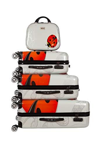 Birendy Reisekoffer Polycarbonat Hartschalen Hardcase Trolley mit Zahlenschloss Koffer Kofferset 4 Rollen einfacher Transport (A 11 Marienkäfer, Set...