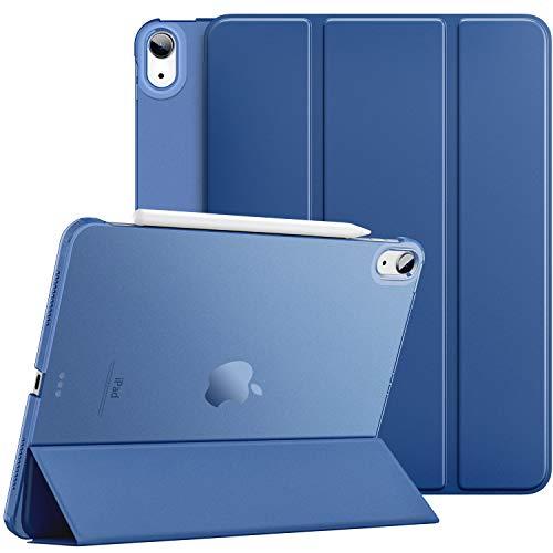 Dadanism Étui Compatible avec iPad Air 4 2020 (4ème Génération) iPad 10.9 Pouces Coque, Étui Tablette Antichoc à Rabat avec Support léger avec Translucide Protecteur en PC, Marine Bleu