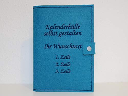Kalenderhülle inklusive Kalender in A5 aus Filz individuell bestickt - personalisiert - Buchhülle