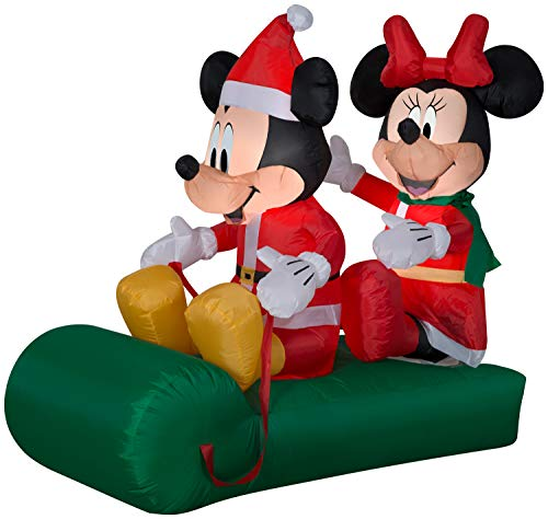 Gemmy 5' Airblown Mickey and Minnie on Sled Christmas Inflatable