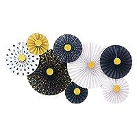 扇子 手作りの紙の折りたたみファン3 d図面の花のパーティーの紙の花の扇風機の装飾の結婚式の結婚式のカラフルな折り紙ファンの供給 うちわ (Color : 1)