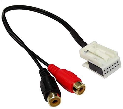 Aerzetix adapterkabel AUX-In – Dual Cinch voor aansluiting van externe MP3-bron op de autoradio Quadlock C43429