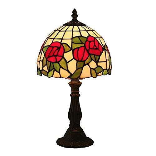 Lámpara De Mesa De Estilo Tiffany Vidrieras Lámparas De Mesa De Estilo Rosa Roja Amplia Iluminación Decorativa Antigua Mesa De Centro Escritorio Dormitorio Sala De Estar Mesita De Noche