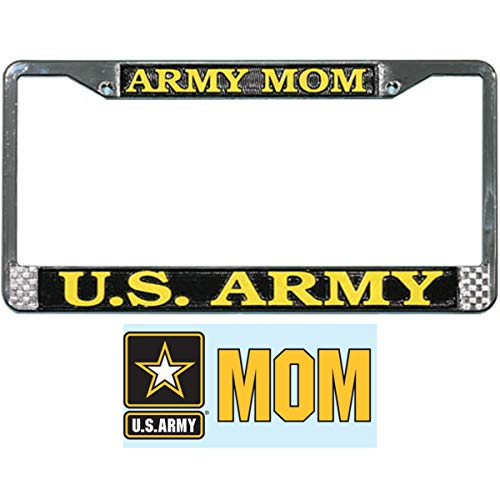 Butler Online Stores US Army Mom License Plate Frame Military Gift Bundle with Army Mom Car Decal