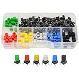 WMYCONGCONG 72 Pcs Momentary Tactile Tact Push Button Micro Switch 6x6x9mm 6 Color Cap for Arduino