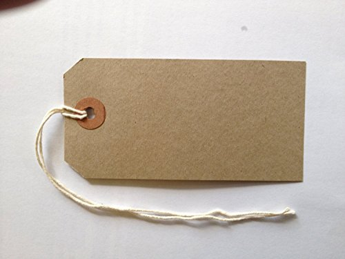 50 MED Brown/Buff (Manilla) Strung 96x48mm Tag/Tie On Luggage Craft Labels 3 by Merit