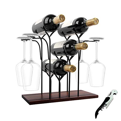 Tabletop Wood Wine Holder Countertop Wine Rack Hold 4 Wine Bottles and 4 Glasses Perfect for Home Decor Kitchen Storage Rack Bar Wine Cellar Cabinet Pantry etc Wood Metal