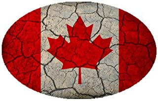 Canada Flag Crackled Design Oval Magnet - Great for Indoors or Outdoors on Vehicles