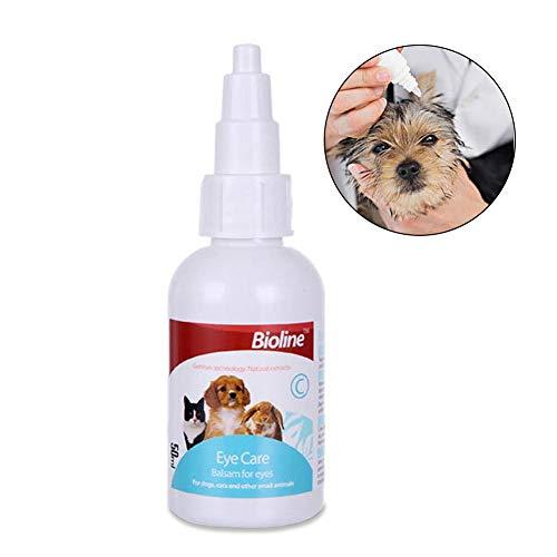 Gotas para los ojos de mascotas El gato estéril suave alivia la irritación y evita las manchas de lágrimas enjuague de ojos de perro de 50 ml para limpiar los ojos