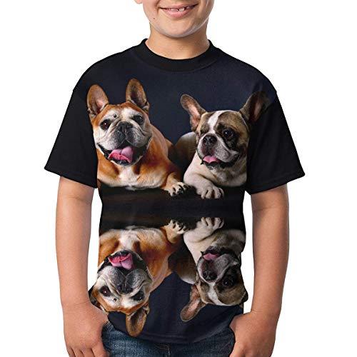 maichengxuan Jugend Tops Grafik Französisch Bulldoggen T-Shirts Kurzarm T-Shirts Cartoon T-Shirt für Jungen Mädchen