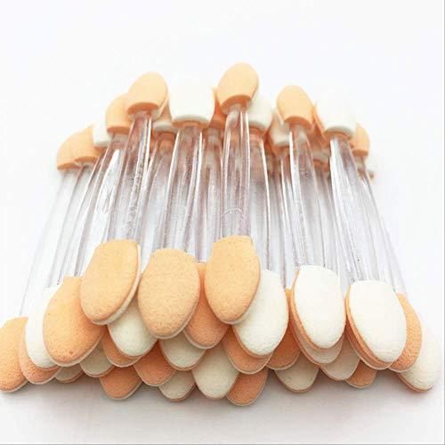 50PCS / Set Brosses à paupières jetables Ensembles et kits en nylon éponge double face Brosses à paupières Maquillages pour applicateur cosmétique a Transparent