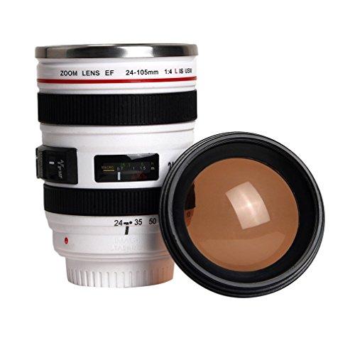 Ouken Isolierkannen-Reise-Kaffeetasse-Schale Wasser Tee-Kamera-Objektiv-Schale mit Deckel Geschenk
