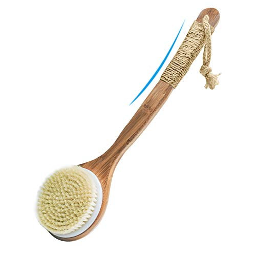 Dry Bath Body Brush Back Scrubber Shower Brush Exfoliating Natural Boar Bristles Curved Long Handle Back and Foot Washer Brush for Wet or Dry Brushing