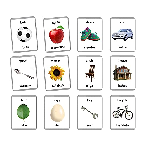 First Words Flash Cards - 48 Baby Flash Cards   Early Years Learning   Homeschooling   Multilingual Flash Cards   Flash Cards   English Bilingual Cards   Baby Toys Learning (Filipino + English)