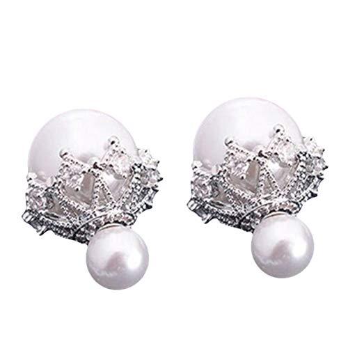 Ruby569y Pendientes colgantes para mujeres y niñas, de doble cara, perlas de imitación de flores huecas, pendientes de tuerca, regalo de joyería - plata + blanco