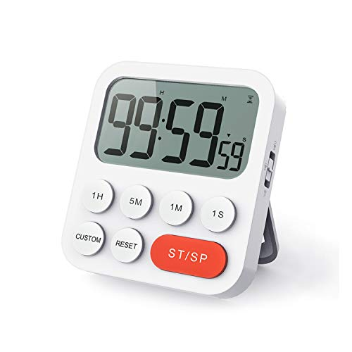 LIORQUE Digitaler Küchentimer Magnetisch Stoppuhr Timer mit Uhr, Magnet, 3-stufiger Lautstärke, LCD Anzeige für Kochen, Sport, Studieren, 2 AAA Batterien inklusive
