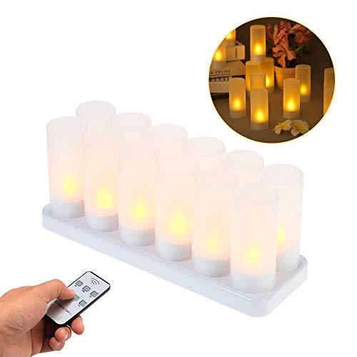 Decdeal vlamloze kaarsen LED waxinelichtjes oplaadbare gele flikkerende met afstandsbediening en matte kopjes kamerdecoratie (4 stuks/6 stuks/12 stuks), optioneel) 12-Pack & EU Plug