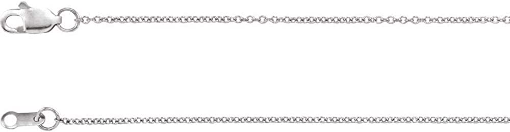 Free shipping 10k White Gold 1mm Solid Chain Cable 24