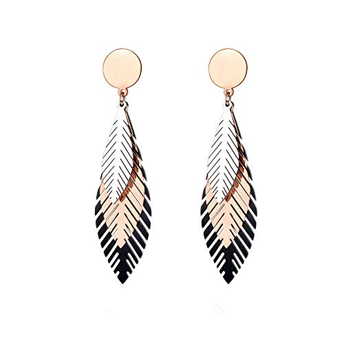 Drop Earrings For Women Elegant Stainless Steel Black/Rose Gold Leaves Stud Earrings Bohemia Style Creative Jewelry For Women