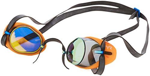 TYR Erwachsene Tracer Socket Rocket Miroir 2.0 Schwimmbrillen, Mehrfarbig/Orange, One Size