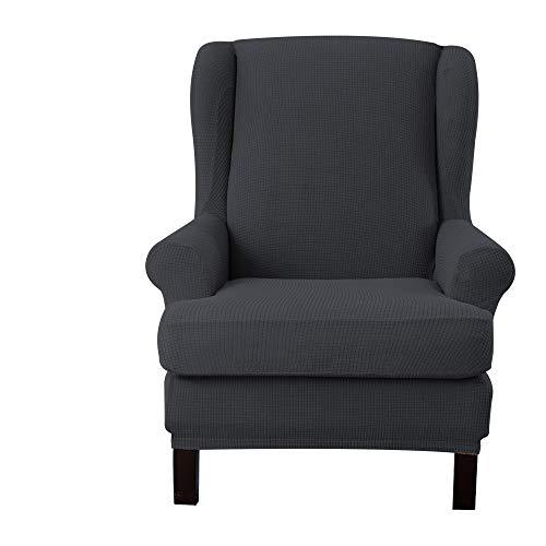 E EBETA Jacquard Sesselbezug, Sessel-Überwürfe Ohrensessel Überzug Bezug Sesselhusse Elastisch Stretch Husse für Ohrensessel (Dunkelgrau)
