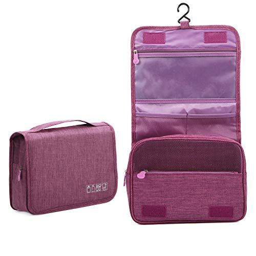Kulturtasche zum Aufhängen   Faltbarer Reise Kulturbeutel mit Tragegriff   Multifunktionale Toilettentasche, platzsparende Kosmetiktasche, Waschtasche, Waschbeutel für Herren, Damen(Purple)