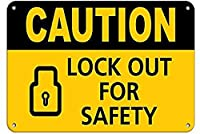 注意安全のためにロックアウトしてください。金属スズサイン通知街路交通危険警告耐久性、防水性、防錆性