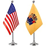 WEITBF New Jersey State Desk Flag Small Mini New Jersey State Office Table Flag with Stand Base,2 Pack
