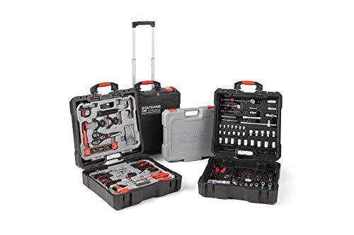 WOLFGANG 400 Teile Werkzeugkoffer gefüllt, Universal Werkzeugwagen Haushalt Auto Werkstatt mit Rädern, Schraubenschlüssel, Schraubendreher, Bit Set, Hammer, Imbuse, Zangen