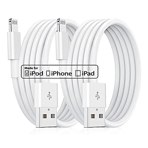 2 cavi di ricarica per iPhone, lungo 2 m, [Apple MFi Certified] da Lightning a USB, ricarica rapida, cavo di ricarica Apple per Apple iPhone 11/XS/XSMax/XR/X/8/8 Plus/7/7Plus/6s/6/6Plus/5S/5, iPad
