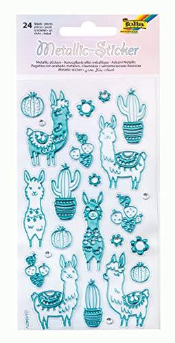 folia 19603 - Metallic - Sticker III mit Lama und Kaktus Motiven, 24 Stück, ideal geeignet zum Verzieren von Grußkarten, Bastelarbeiten und Scrapbooking
