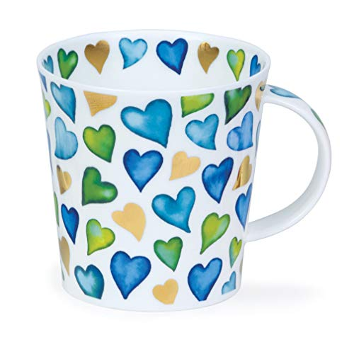 Dunoon Tasse aus feinem Porzellan, Herzmotiv, hergestellt in England - blau