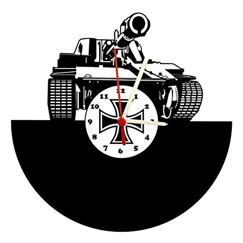 Wanduhr, Tiger Panzer, Design hochwertige Acrylglas Uhr mit lautlosem Quarzwerk, 3mm Stärke & Ziffernblatt