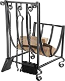Aubry GCH160S chimenea madera leñera soporte con utensilios para la chimenea 36 anchura 40 x altura 56 cm de hierro forjado