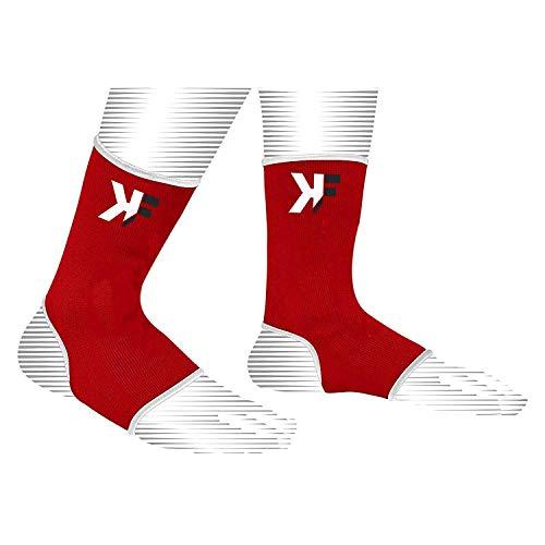 KIKFIT - Calcetines de compresión elásticos para el tobillo, para el dolor, tendinitis de Aquiles, esguinces, lesiones, artritis, fascitis plantar con soporte de arco (rojo, S / M)