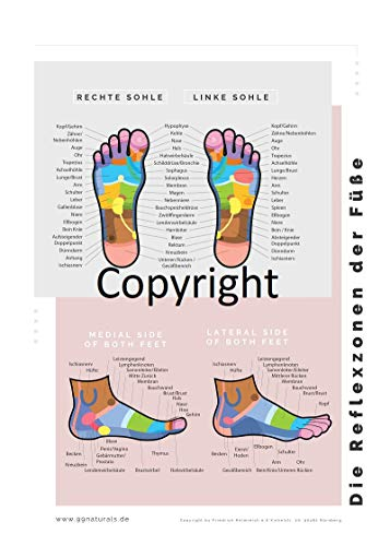 Reflexzonen Schaublatt DIN-A4 lamminiert. Reflexzonen der Hände und Füße